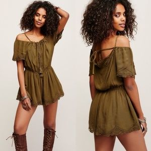 Free People Romance Cold Shoulder Romper Green XS